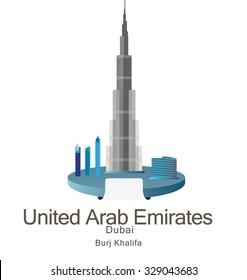 Skyscraper Burj Khalifan in United Arab Emirates, Dubai