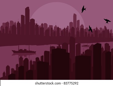Skyscraper city landscape illustration