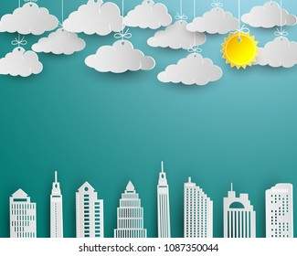 Skyscraper and cloud in white paper art design,architecture building in panorama view landscape,vector illustration
