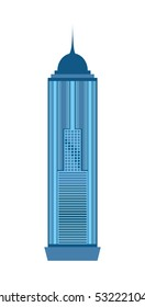 Skyscraper icon isolated on white background. Vector illustration for architecture design. Business building exterior. Modern city office. Urban construction facade. High reflection glass center house