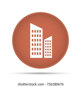 Skyscraper icon on a circle on a white background. Vector illustration