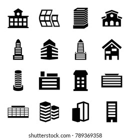 Skyscraper icons. set of 16 editable filled skyscraper icons such as building, business center building, business center