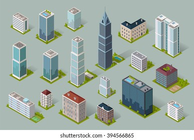 Skyscraper logo building icon. Set of buildings and isolated skyscraper. Isometric tower and office city architecture buildings, 3d house business building, apartment office vector illustration