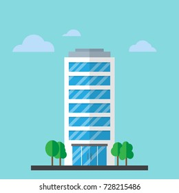 Skyscraper office flat business company building. Vector Illustration