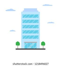 Skyscraper office flat. Vector illustration.