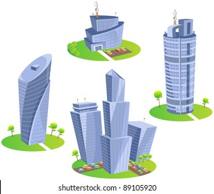 Skyscrapers. Fun cartoon map elements: trees, hotel, skyscrapers, cars. (set 3)