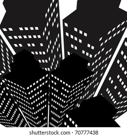 Skyscrapers icon, aerial perspective, vector background