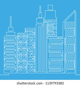 Skyscrapers one line Simple vector illustration isolated on blue background.