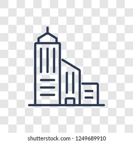 Skyscrapper icon. Trendy linear Skyscrapper logo concept on transparent background from Real Estate collection