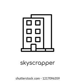 skyscrapper icon. Trendy modern flat linear vector skyscrapper icon on white background from thin line collection, outline vector illustration