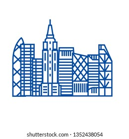 Skyscrapper line icon concept. Skyscrapper flat  vector symbol, sign, outline illustration.