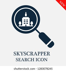Skyscrapper search icon. Editable Skyscrapper search icon for web or mobile.