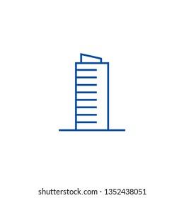 Skyscrapper sign line icon concept. Skyscrapper sign flat  vector symbol, sign, outline illustration.