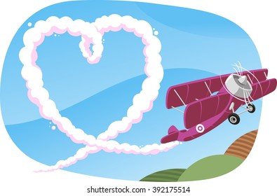 skywriting a heart in the sky by a propeller airplane illustration