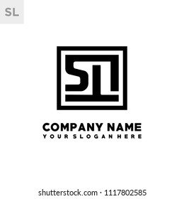 SL initial box letter logo template vector