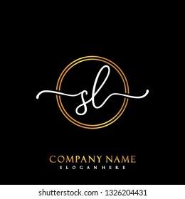 SL Initial Handwriting logo template vector