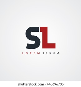 sl initial letter linked uppercase logo black red in white background