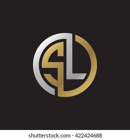 SL initial letters looping linked circle elegant logo golden silver black background