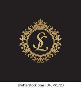 SL initial luxury ornament monogram logo