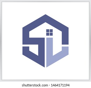 SL logo. letter SL design template. hexagon logo