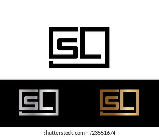 SL Logo. Letter Design Vector with Red and Black Gold Silver Colors