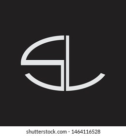 SL Logo letter oval monogram design template with black and white colors