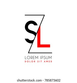 SL logo letter separated by a black zigzag line
