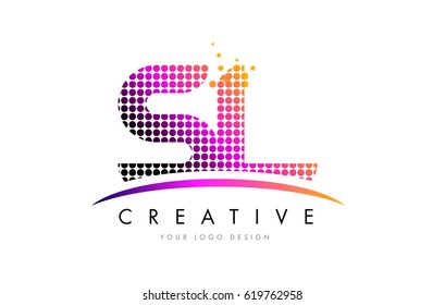 SL S L Dots Letter Logo Design with Magenta Bubble Circles and Swoosh