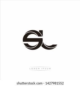 sl s l Initial Letter Split Lowercase Modern Monogram linked outline rounded logo