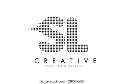 SL S L Letter Logo Design with Black Dots and Bubble Trails.