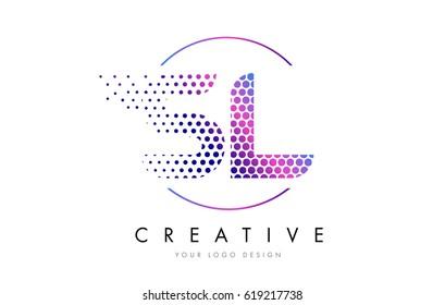 SL S L Pink Magenta Dotted Bubble Letter Logo Design. Dots Lettering Vector Illustration