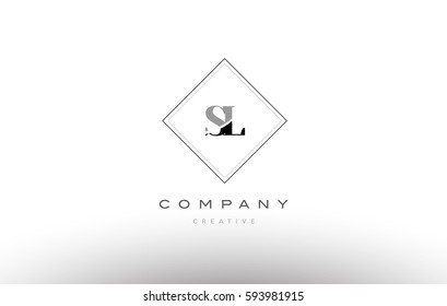 sl s l  retro vintage black white alphabet company letter logo line design vector icon template