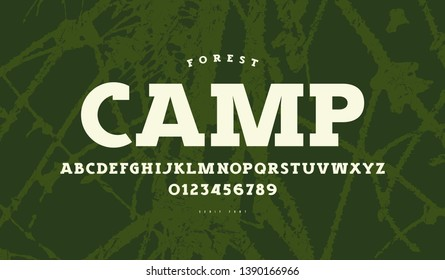 Slab serif font in classic style. Bold face. Letters and numbers for logo and label design. White print on green texture background