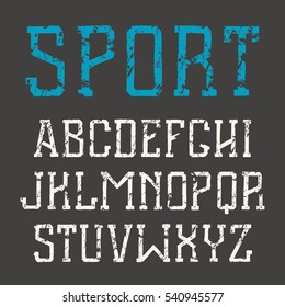 Slab serif font in hand-drawn style with shabby texture. Medium face. Print on black background