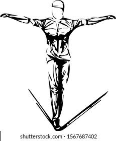 slackline stylized, athlete. man rope walker sketch black