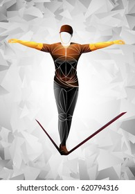 slackline stylized, brown, athlete