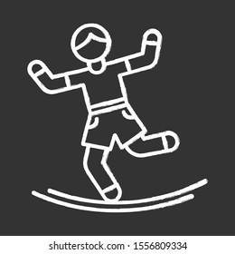 Slacklining chalk icon. Balance training. Slack rope walking. Tightrope walker. Person balancing on suspended webbing. Extreme sport. Isolated vector chalkboard illustration