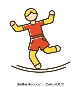 Slacklining color icon. Balance training. Slack rope walking. Tightrope walker. Person balancing on suspended webbing. Extreme sport. Isolated vector illustration