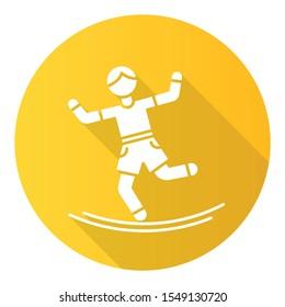 Slacklining yellow flat design long shadow glyph icon. Balance training. Slack rope walking. Tightrope walker. Person balancing on suspended webbing. Extreme sport. Vector silhouette illustration