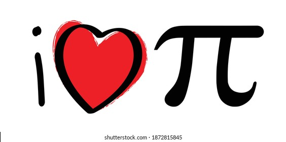Slagan i love pi. Happy PI day, 14 march, The number pi is a mathematical constant ( 3.14 3,14 ) symbol. Flat funny vector maths icon or sign banner.