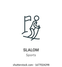 Slalom outline vector icon. Thin line black slalom icon, flat vector simple element illustration from editable sports concept isolated stroke on white background