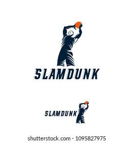 Slam Dunk basketball Pose silhouette logo, Basketball logo template vector
