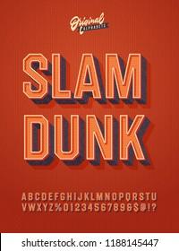 'Slam Dunk' Vintage 3D Octagonal Alphabet. Retro Basketball Typeface. Sport Jersey Font. Vector Illustration.