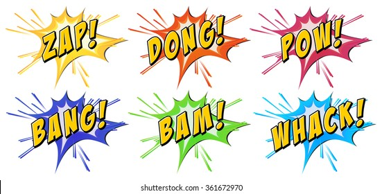 Slang words on explosion background illustration