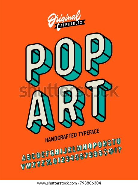 Slanted 'Pop Art' Vintage 3D Sans Serif Font. Rounded Colorful Alphabet. Retro Typography. Framed Outlined Typeface. Vector Illustration.