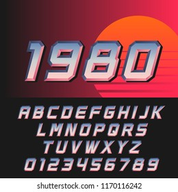 Slanted retro futuristic font in style of 80s, letters and numbers