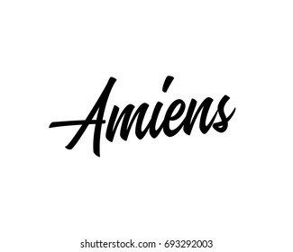 Slanted script cursive text art design vector of French city names for Amiens