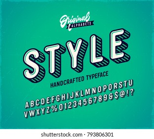 Slanted 'Style' Vintage 3D Sans Serif Font. Rounded Colorful Alphabet. Retro Typography. Striped Typeface. Vector Illustration.