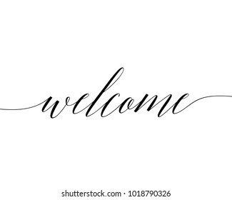 Slanted typography wedding word art sign design vector graphic for welcome
