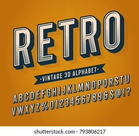 Slanted Vintage Retro 3D Sans Serif Striped Condensed Alphabet. Retro Typography. Vector Illustration.